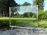 mobiel windscherm 200 cm rvs met veiligheidsglas_