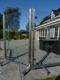 RVS windscherm veiligheidsglas 200 cm_