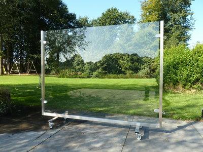 mobiel windscherm 200 cm rvs met veiligheidsglas
